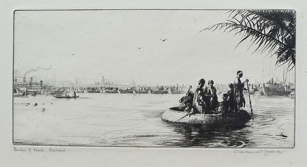 Etching: Bridge of Boats, Bagdad