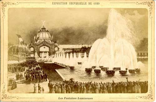 A photo of a drawing of crowds at Les Fontaines Lumineuses, the light fountains