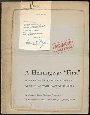 Advanced press sheets of Hemingway's report on his African plane crashes - 1954