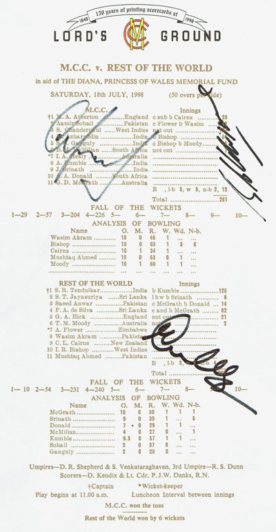 Souvenir Scorecard for the MCC v Rest of the World Cricket Match