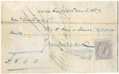 Signed Hand-Drafted Cheque from Charles Dickens
