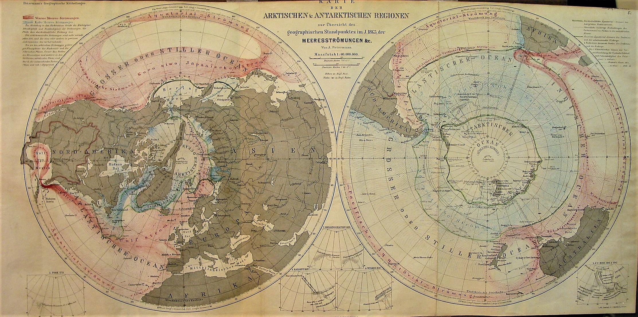 Map of Arctic and Antarctic Regions 1865