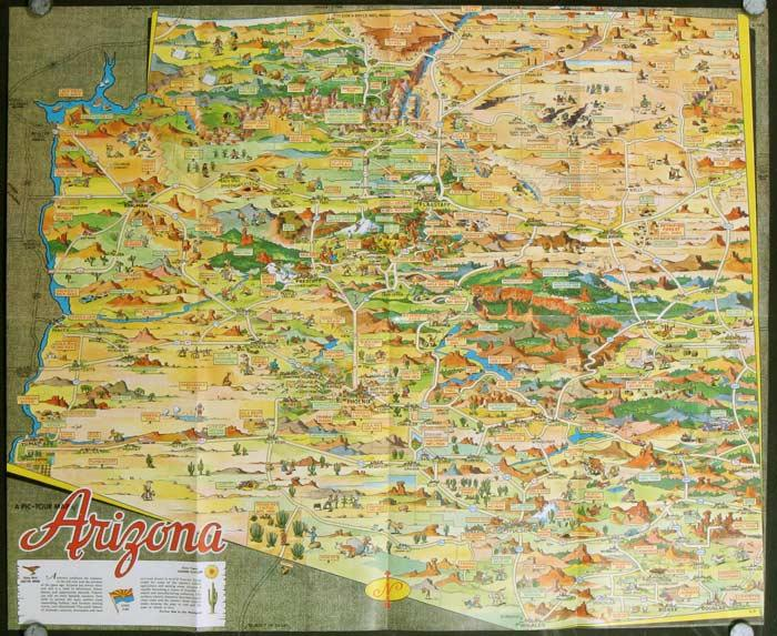 Pic Tour Map of Arizona 1950