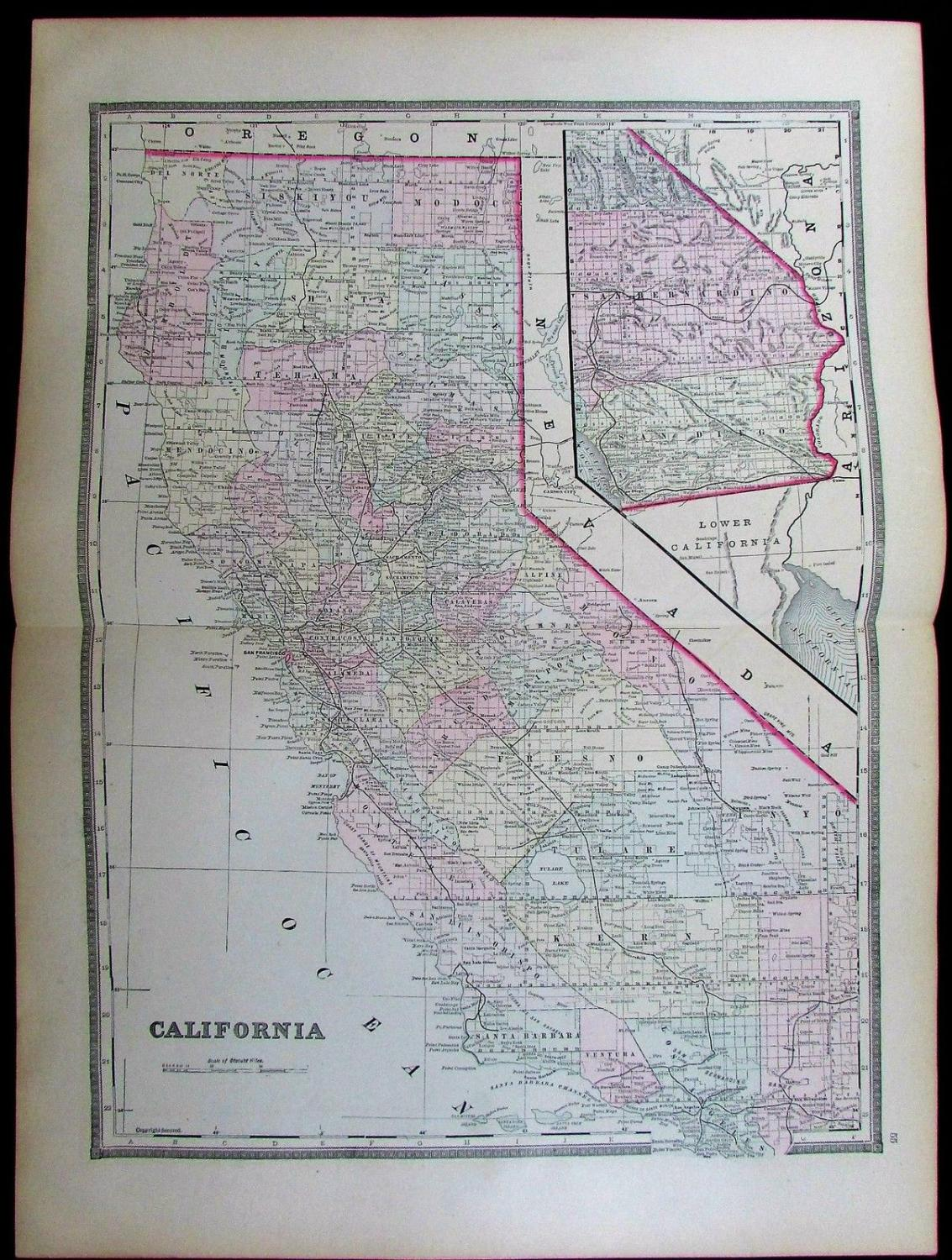 the latitude longitude of collectible maps california antique map