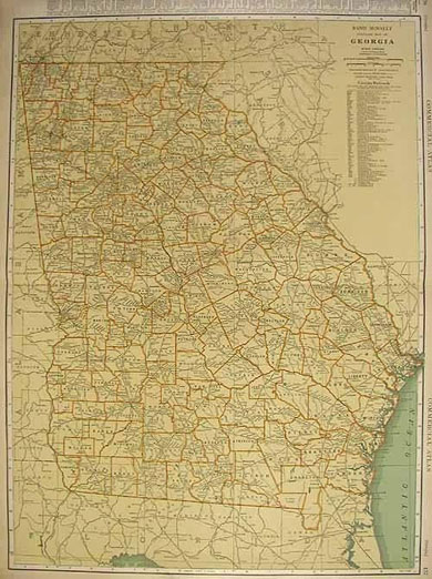 Rand McNally Standard Map of Georgia 1932