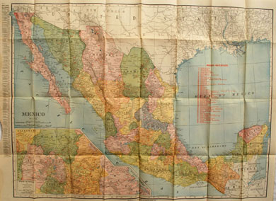 Rand McNally Atlas Map of Mexico 1911