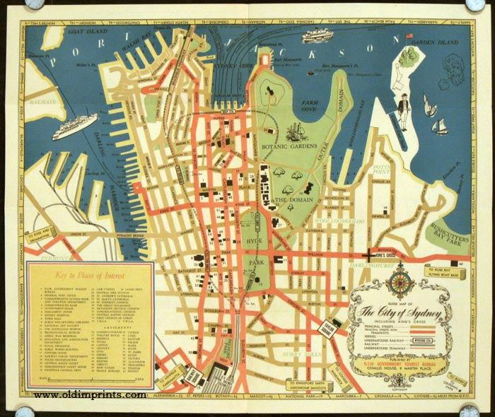 Tourist Map of Sydney 1933