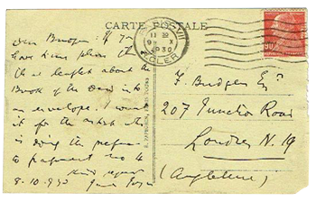 Postcard from James Joyce to friend
