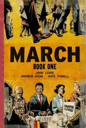 March: Book One, signed by John Lewis, Andrew Aydin and Nate Powell