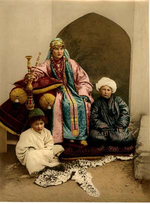 Uzbekistan woman and sons