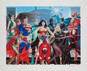 Signiertes Giclée der Justice League of America von Alex Ross