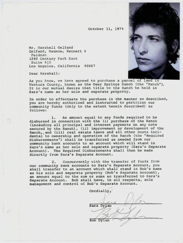 Document signé par Bob Dylan