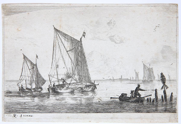 Etching: A Smaller Sailing Boat and a Row Boat