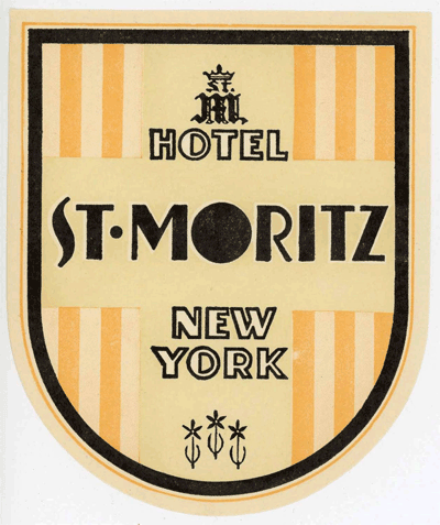 Luggage label from Hotel St. Moritz, New York