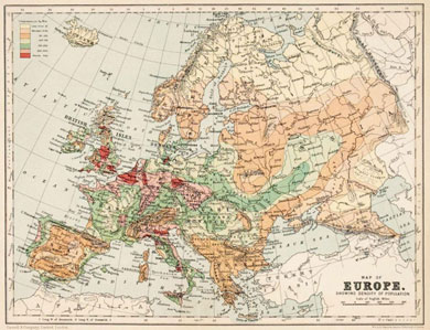 Collectable Maps. Map Of Europe Showing Density And Population 1900